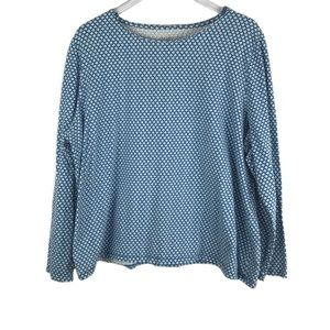 Talbots Blue White Patterned Long Sleeve Top 3X